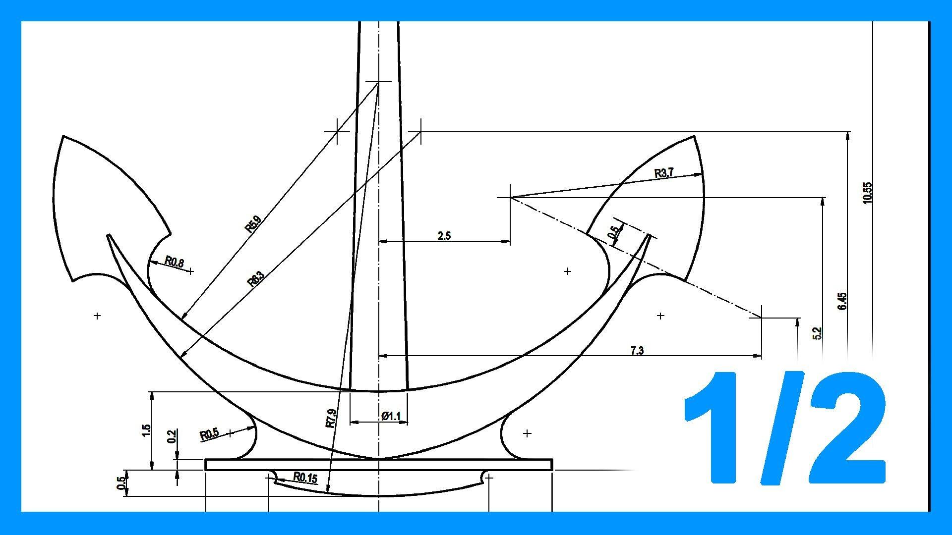 Autocad 1 2 ejercicio paso a paso dibujando ancla 2d for Como dibujar un plano de una casa