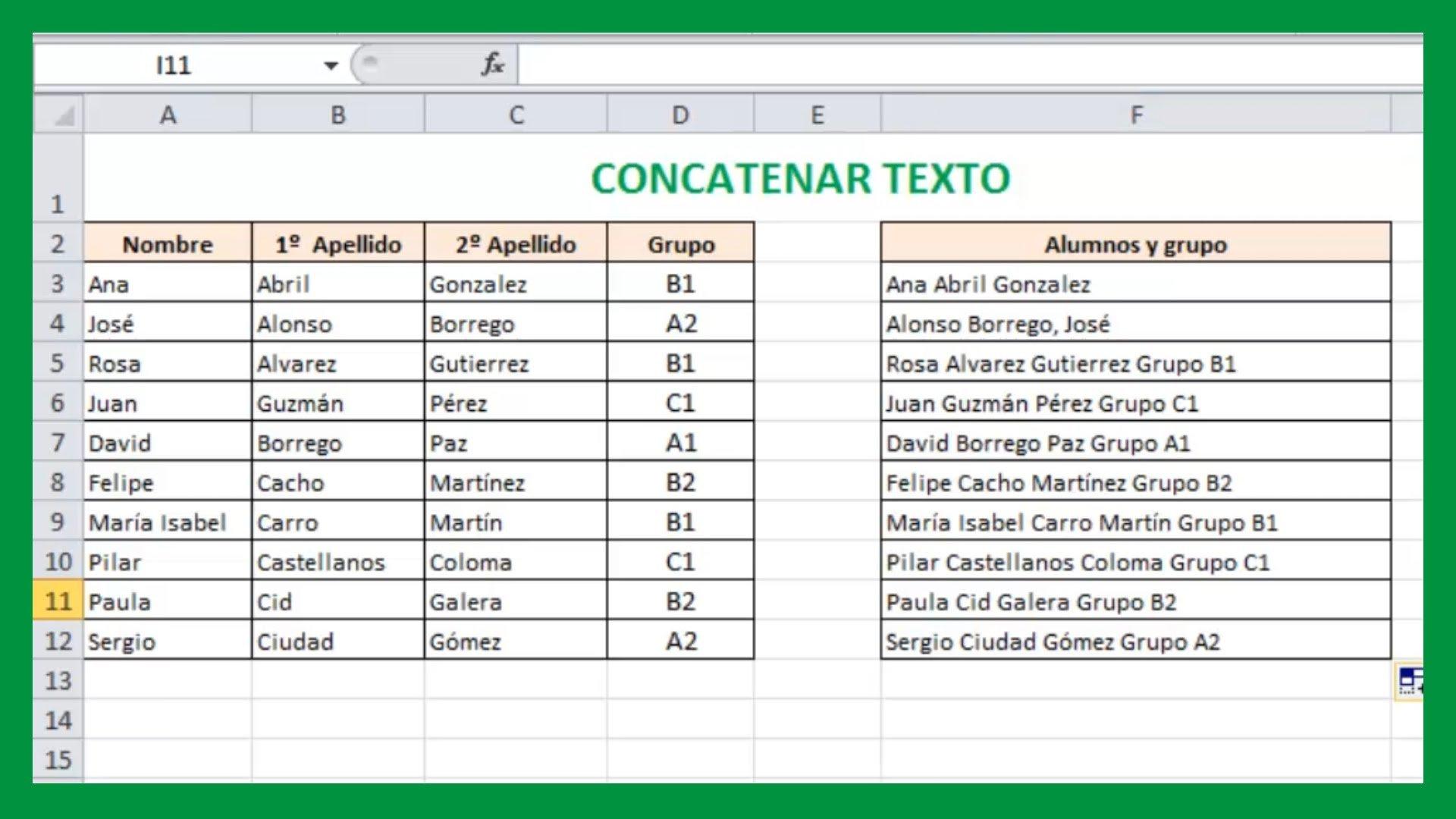 Excel – Concatenar texto. Unir textos de celdas en Excel. Tutorial ...