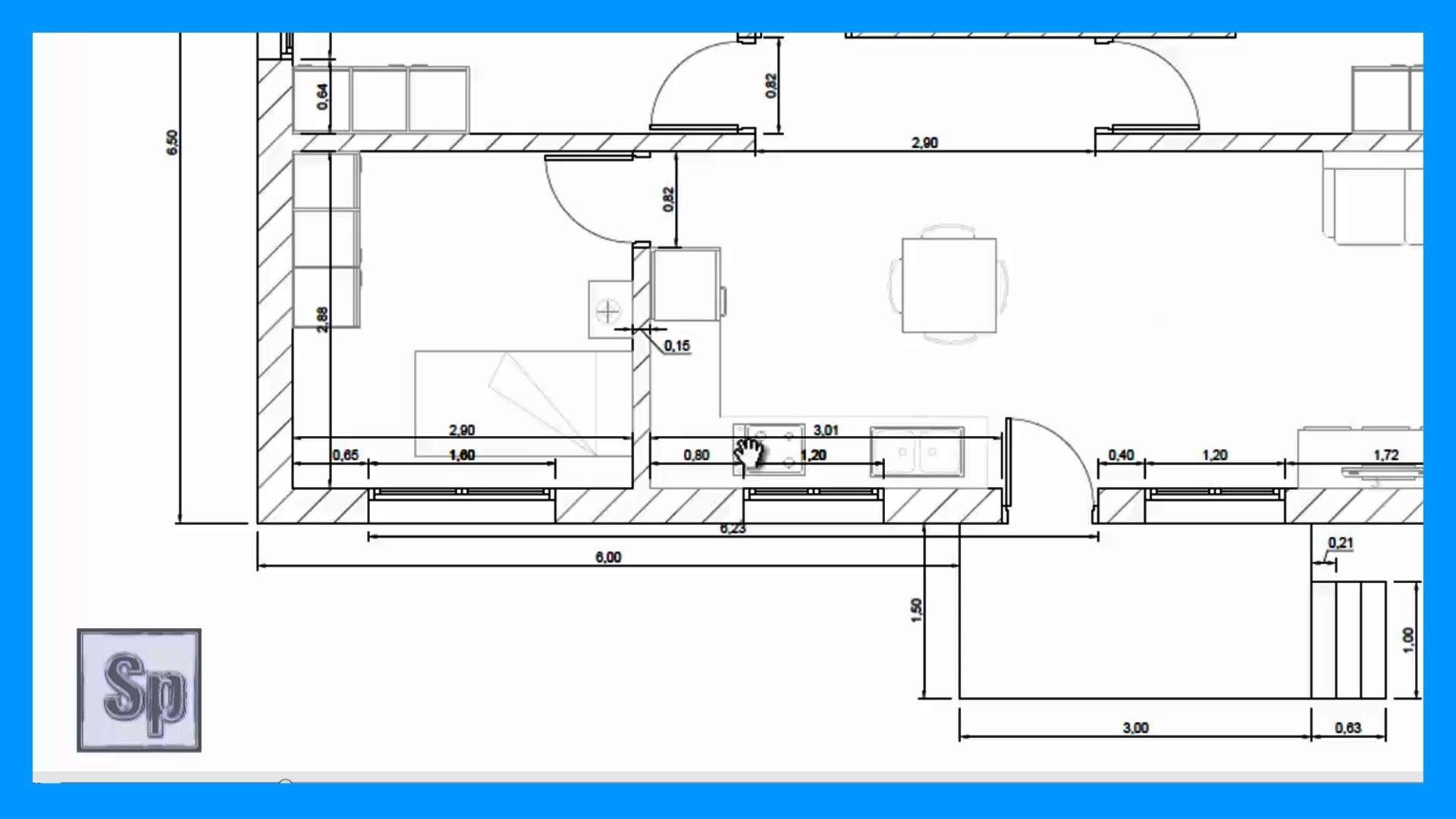Autocad 1 2 dibujar plano de una casa de una planta en for Programa para distribuir una casa