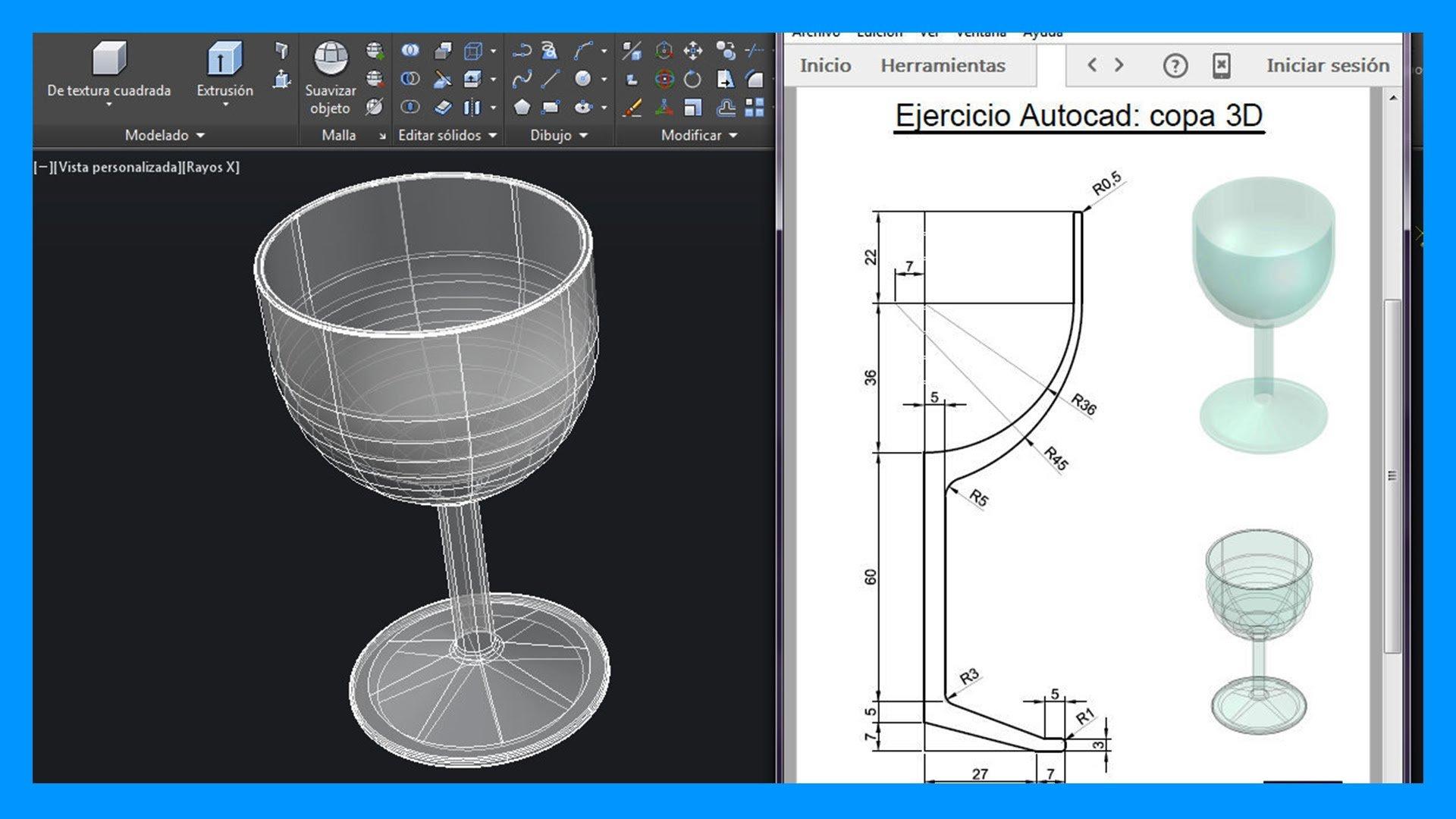 Ejercicios En Autocad 3d Dibuja Una Copa Paso Paso Saber Programas