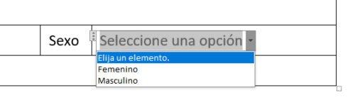 formulario en word lista desplegable