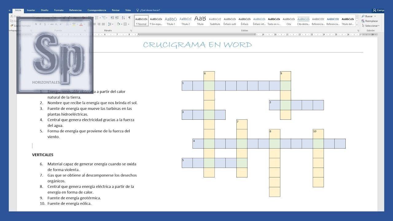 Word - Cómo hacer un crucigrama en Word - Saber Programas
