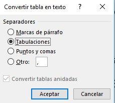 convertir tabla en texto