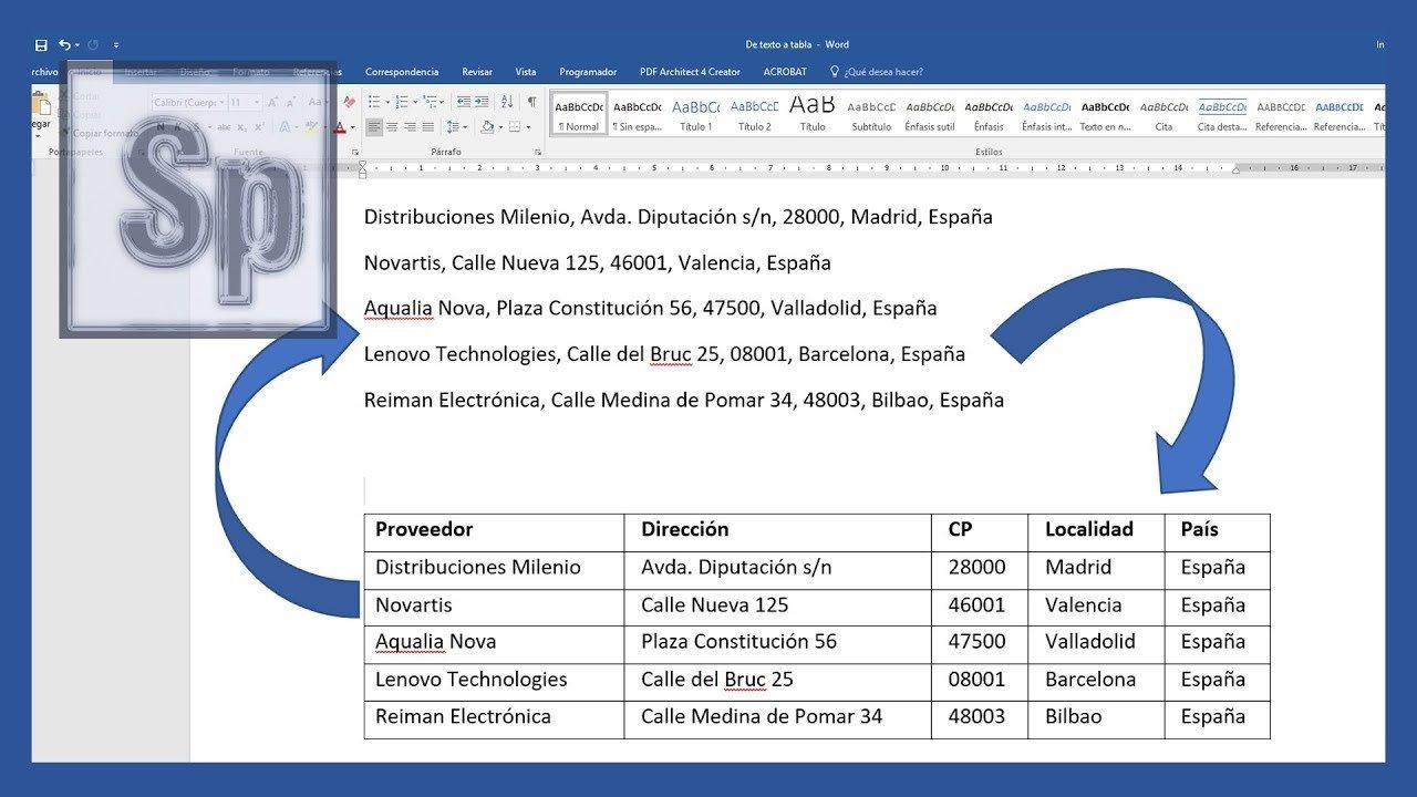 word - convertir texto en tabla y viceversa