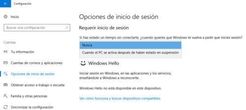 quitar contraseña en Windows 10