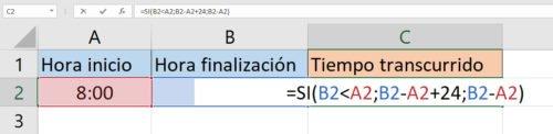 calcular horas turno nocturno Excel