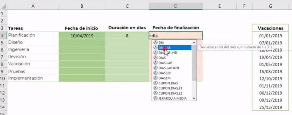 calcular fecha final en Excel