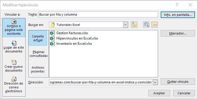 Hipervínculos en Excel