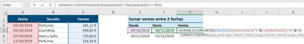 sumar valores entre fechas