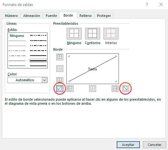 diagonal en celda de Excel