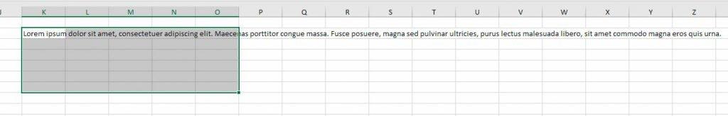 Justificar texto en Excel